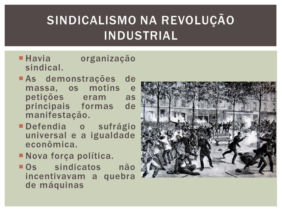 Havia organização sindical. As demonstrações de massa, os motins e petições eram as principais formas de manifestação. Defendia o sufrágio universal e