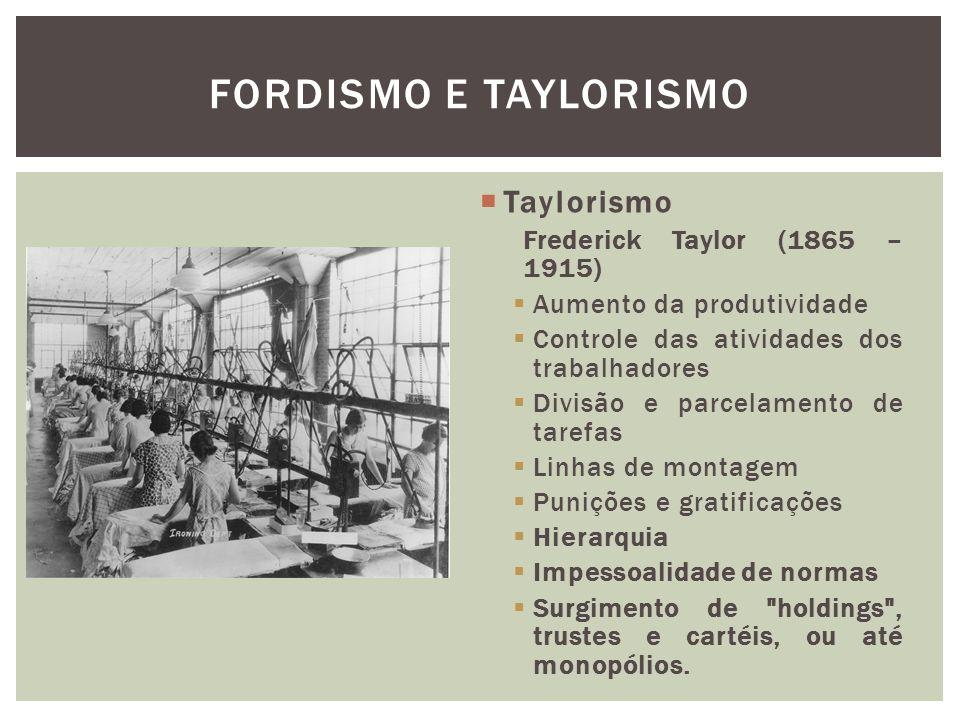 Taylorismo Frederick Taylor (1865 – 1915) Aumento da produtividade Controle das atividades dos trabalhadores Divisão e parcelamento de tarefas Linhas