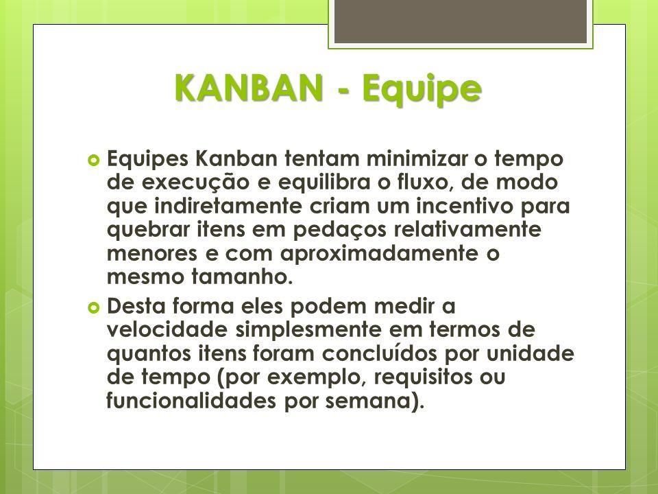 KANBAN - Equipe Equipes Kanban tentam minimizar o tempo de execução e equilibra o fluxo, de modo que indiretamente criam um incentivo para quebrar ite