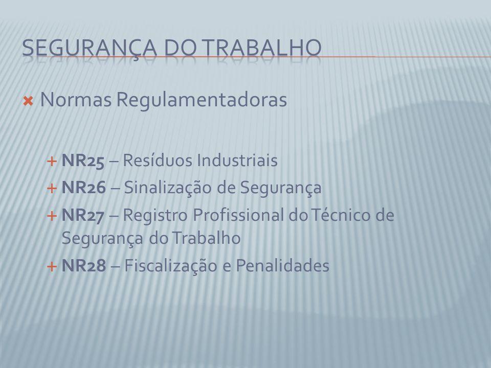 Normas Regulamentadoras NR25 – Resíduos Industriais NR26 – Sinalização de Segurança NR27 – Registro Profissional do Técnico de Segurança do Trabalho NR28 – Fiscalização e Penalidades