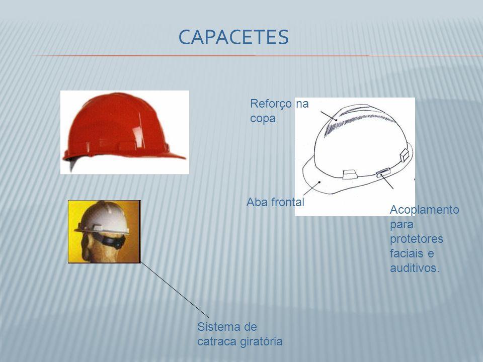 Reforço na copa Acoplamento para protetores faciais e auditivos. Aba frontal Sistema de catraca giratória CAPACETES