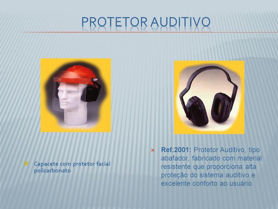 Ref.2001: Protetor Auditivo, tipo abafador, fabricado com material resistente que proporciona alta proteção do sistema auditivo e excelente conforto ao usuário.