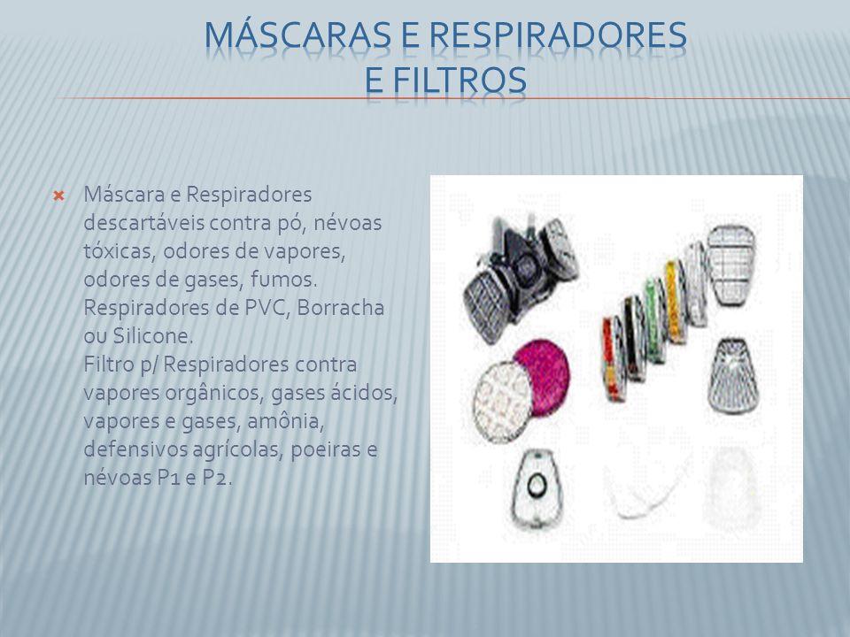 Máscara e Respiradores descartáveis contra pó, névoas tóxicas, odores de vapores, odores de gases, fumos. Respiradores de PVC, Borracha ou Silicone. F