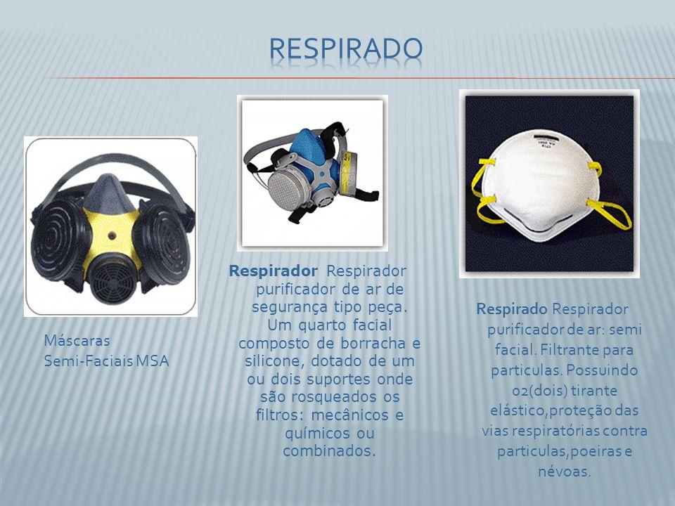 Respirado Respirador purificador de ar: semi facial. Filtrante para particulas. Possuindo 02(dois) tirante elástico,proteção das vias respiratórias co