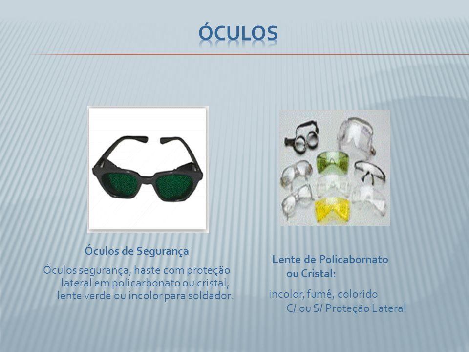 Lente de Policabornato ou Cristal: incolor, fumê, colorido C/ ou S/ Proteção Lateral Óculos de Segurança Óculos segurança, haste com proteção lateral