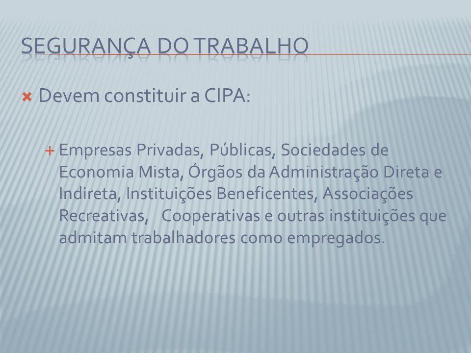 Devem constituir a CIPA: Empresas Privadas, Públicas, Sociedades de Economia Mista, Órgãos da Administração Direta e Indireta, Instituições Beneficent