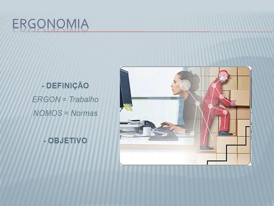 - DEFINIÇÃO ERGON = Trabalho NOMOS = Normas - OBJETIVO
