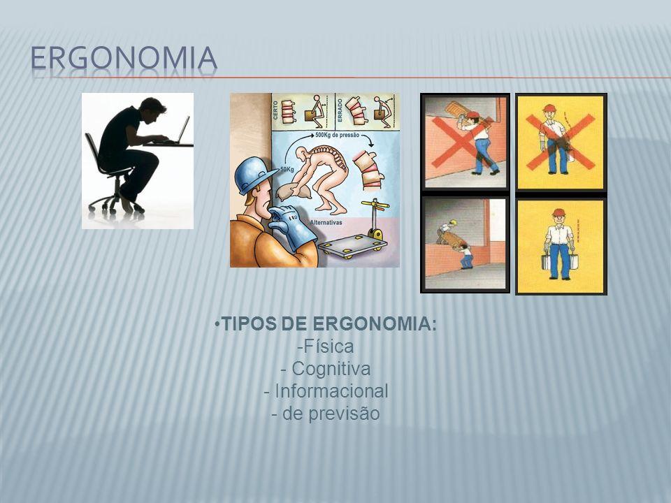 TIPOS DE ERGONOMIA: -Física - Cognitiva - Informacional - de previsão