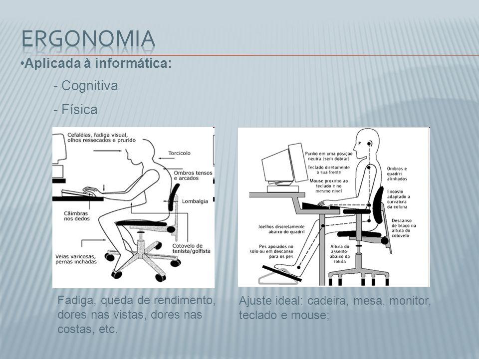 Aplicada à informática: Ajuste ideal: cadeira, mesa, monitor, teclado e mouse; Fadiga, queda de rendimento, dores nas vistas, dores nas costas, etc. -