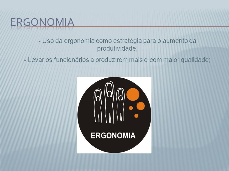 - Uso da ergonomia como estratégia para o aumento da produtividade; - Levar os funcionários a produzirem mais e com maior qualidade;