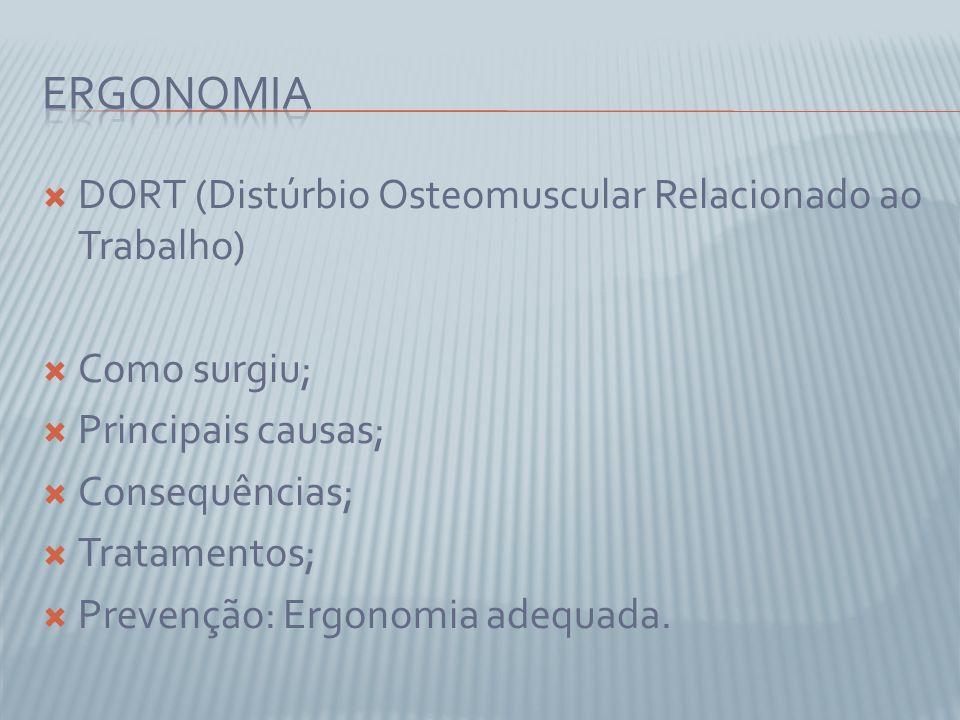 DORT (Distúrbio Osteomuscular Relacionado ao Trabalho) Como surgiu; Principais causas; Consequências; Tratamentos; Prevenção: Ergonomia adequada.