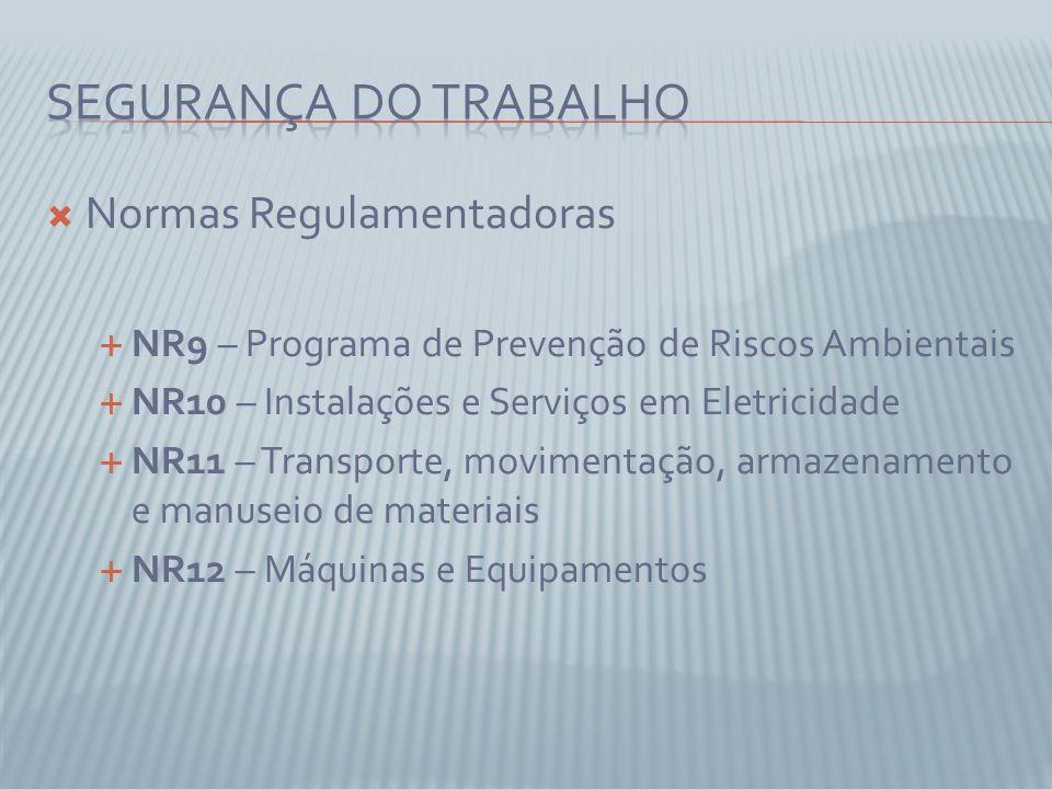 Normas Regulamentadoras NR9 – Programa de Prevenção de Riscos Ambientais NR10 – Instalações e Serviços em Eletricidade NR11 – Transporte, movimentação, armazenamento e manuseio de materiais NR12 – Máquinas e Equipamentos