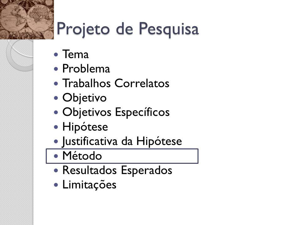 Projeto de Pesquisa Tema Problema Trabalhos Correlatos Objetivo Objetivos Específicos Hipótese Justificativa da Hipótese Método Resultados Esperados L