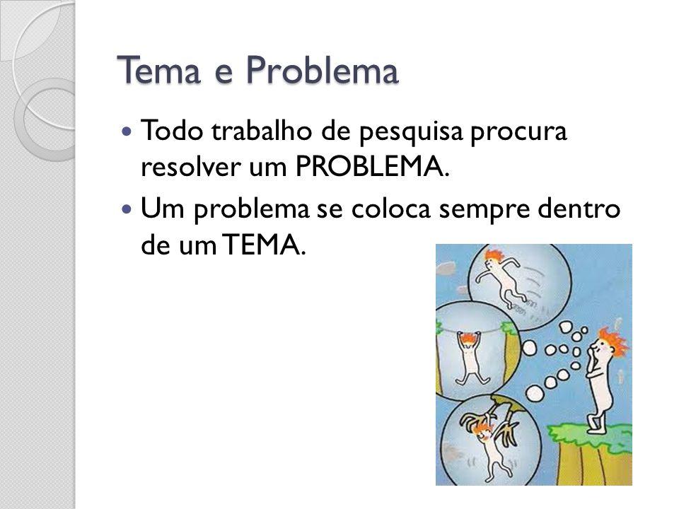Tema e Problema Todo trabalho de pesquisa procura resolver um PROBLEMA. Um problema se coloca sempre dentro de um TEMA.