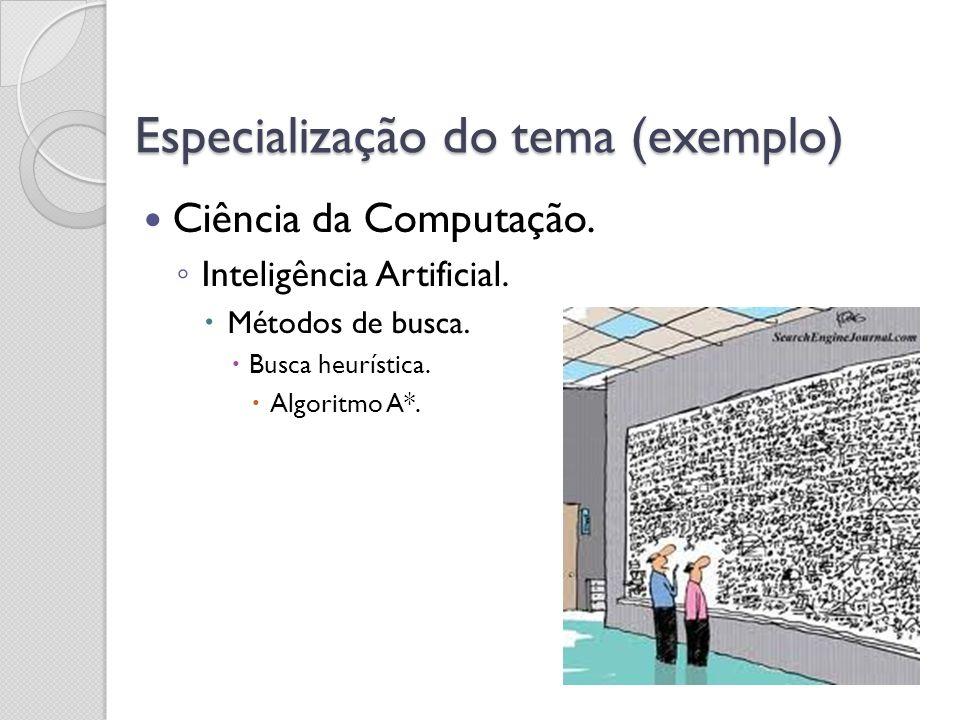 Especialização do tema (exemplo) Ciência da Computação. Inteligência Artificial. Métodos de busca. Busca heurística. Algoritmo A*.