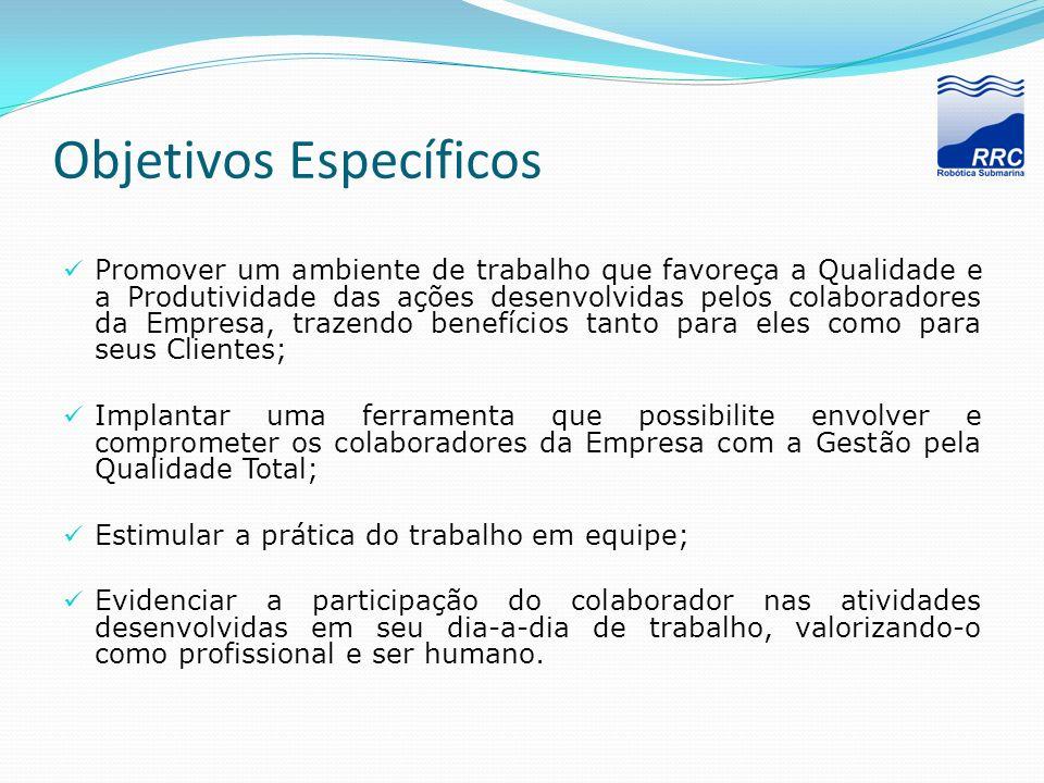 Objetivos Específicos Promover um ambiente de trabalho que favoreça a Qualidade e a Produtividade das ações desenvolvidas pelos colaboradores da Empre