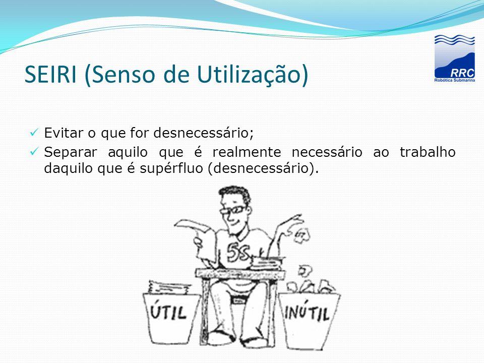 SEIRI (Senso de Utilização) Evitar o que for desnecessário; Separar aquilo que é realmente necessário ao trabalho daquilo que é supérfluo (desnecessár