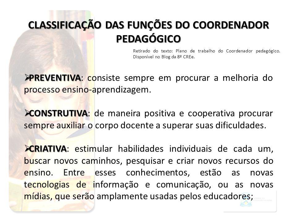 PREVENTIVA PREVENTIVA: consiste sempre em procurar a melhoria do processo ensino-aprendizagem. CONSTRUTIVA CONSTRUTIVA: de maneira positiva e cooperat