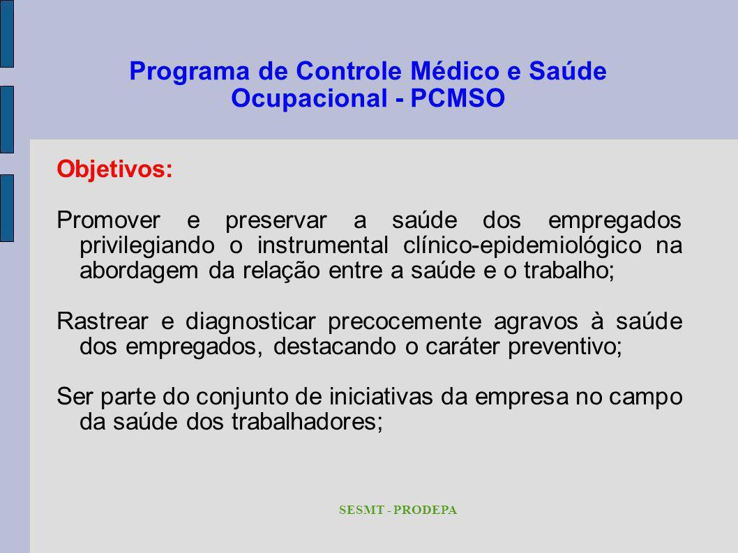 Programa de Controle Médico e Saúde Ocupacional - PCMSO Objetivos: Promover e preservar a saúde dos empregados privilegiando o instrumental clínico-ep
