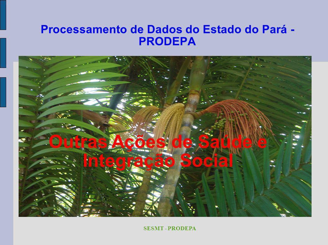 Processamento de Dados do Estado do Pará - PRODEPA SESMT - PRODEPA Outras Ações de Saúde e Integração Social