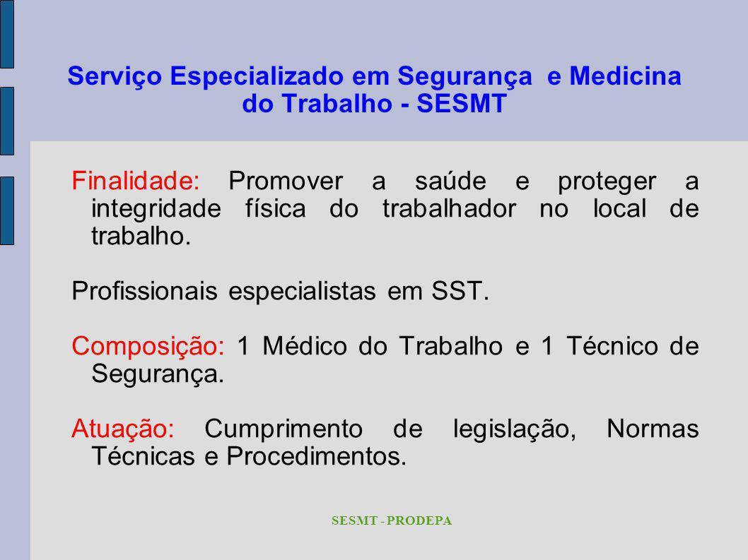 Serviço Especializado em Segurança e Medicina do Trabalho - SESMT Finalidade: Promover a saúde e proteger a integridade física do trabalhador no local
