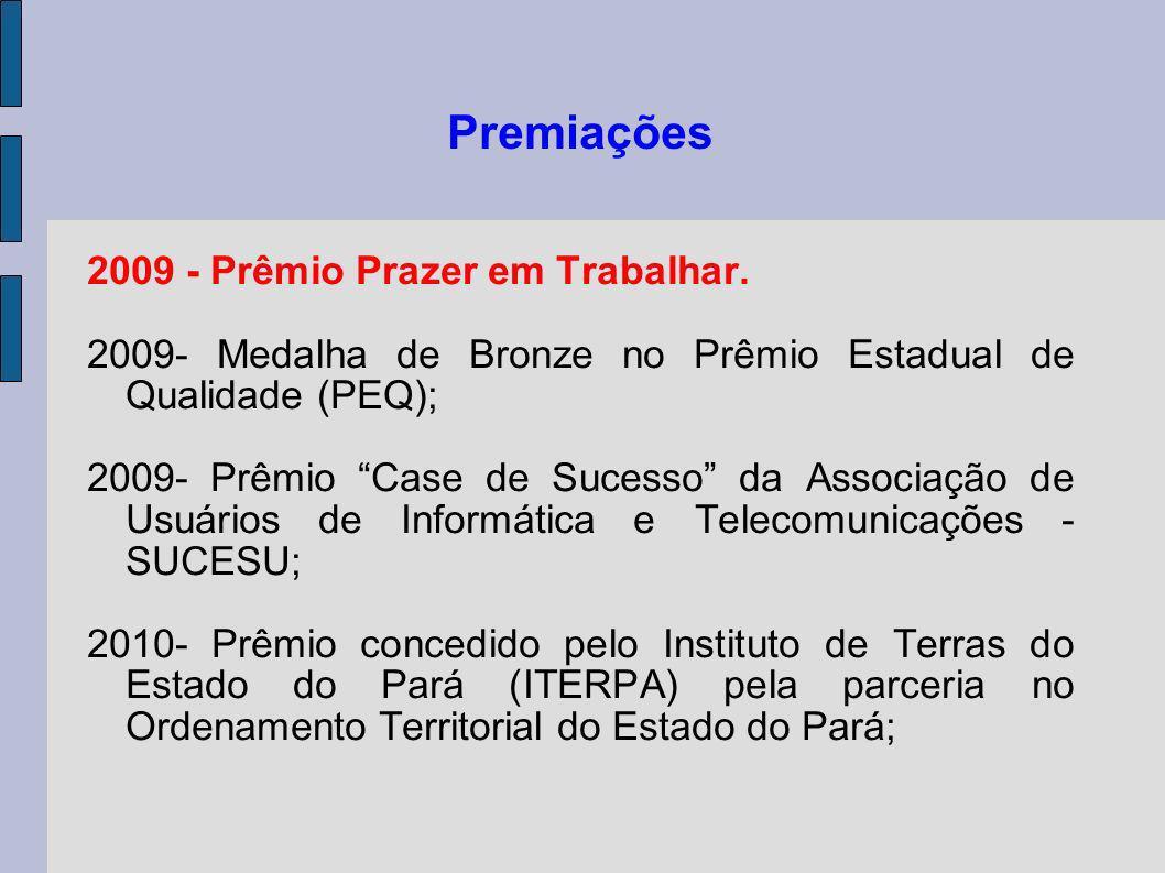 Premiações 2009 - Prêmio Prazer em Trabalhar. 2009- Medalha de Bronze no Prêmio Estadual de Qualidade (PEQ); 2009- Prêmio Case de Sucesso da Associaçã