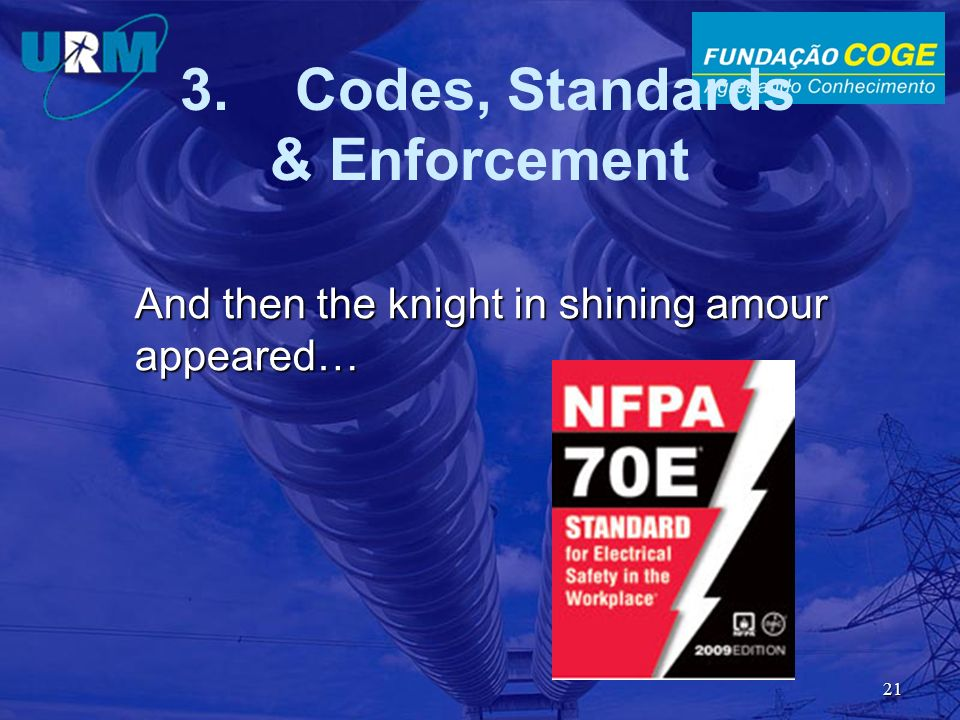And then the knight in shining amour appeared… 21 3. Codes, Standards & Enforcement