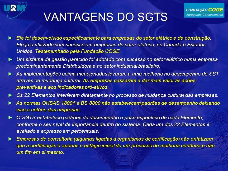 VANTAGENS DO SGTS Ele foi desenvolvido especificamente para empresas do setor elétrico e de construção. Ele já é utilizado com sucesso em empresas do