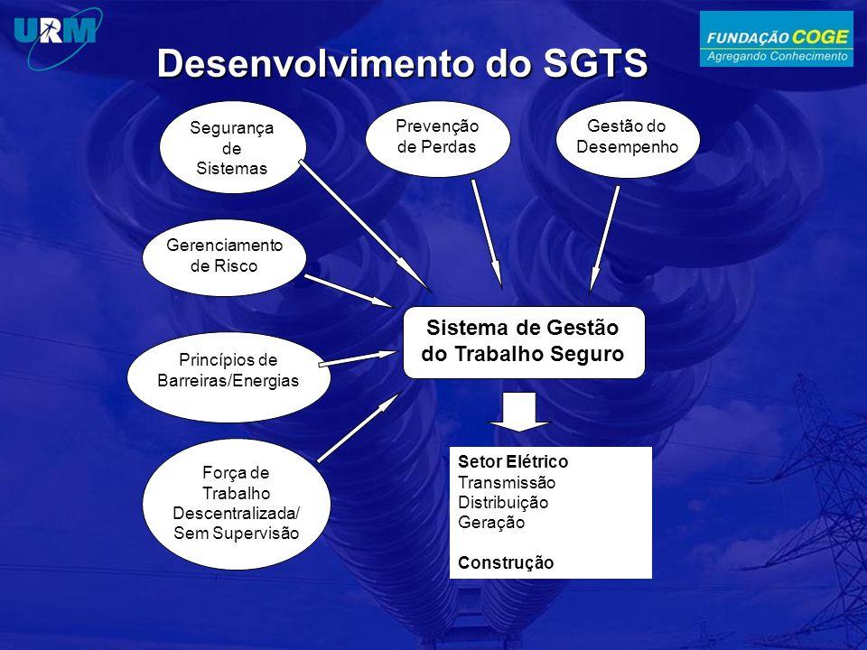 Desenvolvimento do SGTS Segurança de Sistemas Prevenção de Perdas Gestão do Desempenho Gerenciamento de Risco Princípios de Barreiras/Energias Força de Trabalho Descentralizada/ Sem Supervisão Sistema de Gestão do Trabalho Seguro Setor Elétrico Transmissão Distribuição Geração Construção