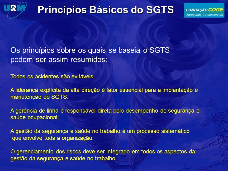 Princípios Básicos do SGTS Os princípios sobre os quais se baseia o SGTS podem ser assim resumidos: Todos os acidentes são evitáveis. A liderança expl