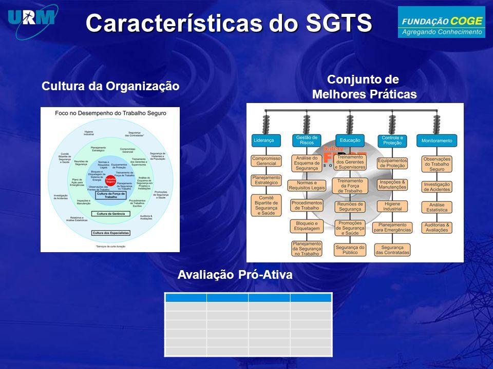 Características do SGTS Conjunto de Melhores Práticas Avaliação Pró-Ativa Cultura da Organização