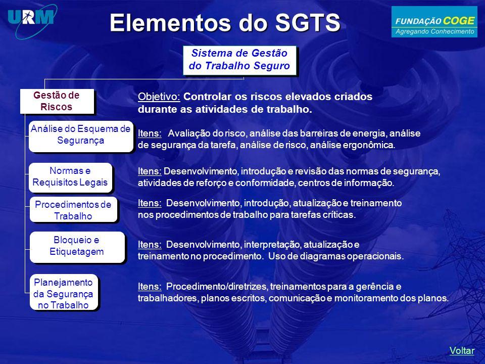 Elementos do SGTS Sistema de Gestão do Trabalho Seguro Gestão de Riscos Planejamento da Segurança no Trabalho Procedimentos de Trabalho Bloqueio e Eti
