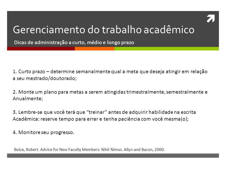 Gerenciamento do trabalho acadêmico Dicas de administração a curto, médio e longo prazo Boice, Robert. Advice for New Faculty Members: Nihil Nimus. Al