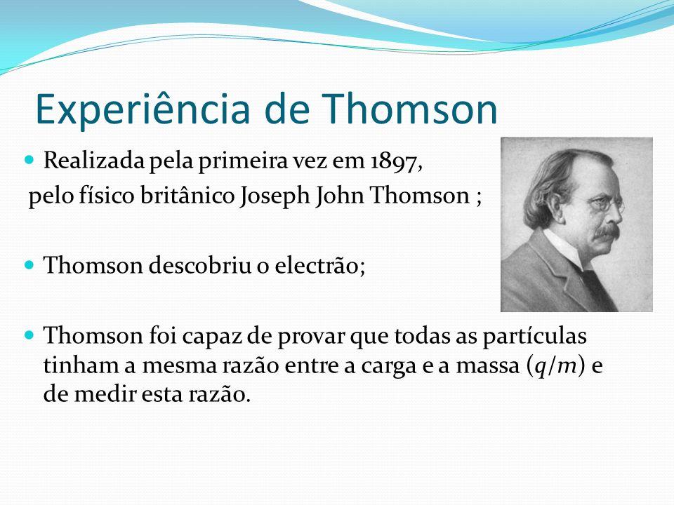 Experiência de Thomson Realizada pela primeira vez em 1897, pelo físico britânico Joseph John Thomson ; Thomson descobriu o electrão; Thomson foi capaz de provar que todas as partículas tinham a mesma razão entre a carga e a massa (q/m) e de medir esta razão.