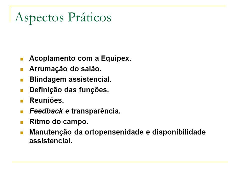 Aspectos Práticos Acoplamento com a Equipex. Arrumação do salão. Blindagem assistencial. Definição das funções. Reuniões. Feedback e transparência. Ri