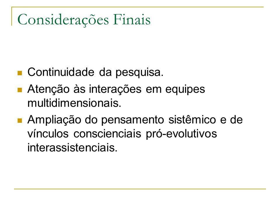 Considerações Finais Continuidade da pesquisa. Atenção às interações em equipes multidimensionais. Ampliação do pensamento sistêmico e de vínculos con