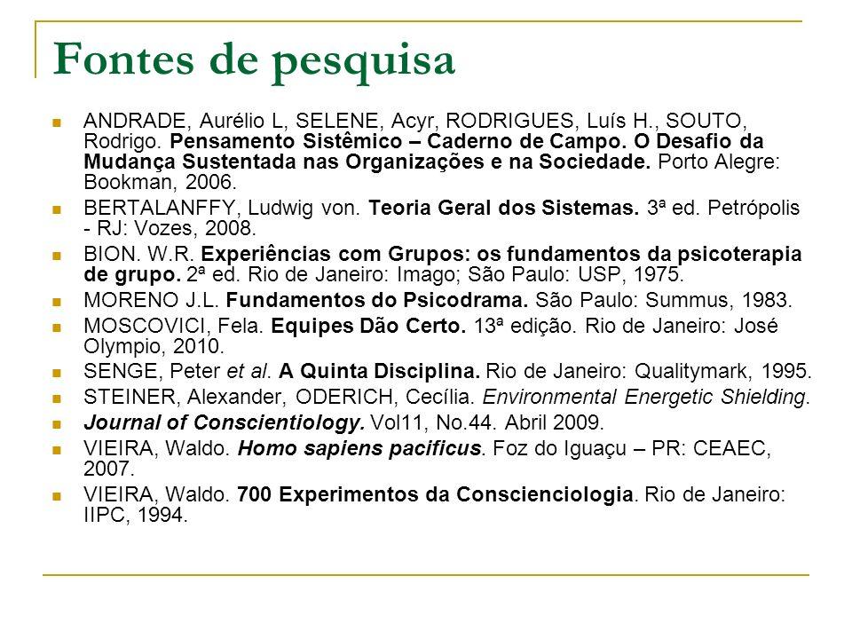 Fontes de pesquisa ANDRADE, Aurélio L, SELENE, Acyr, RODRIGUES, Luís H., SOUTO, Rodrigo. Pensamento Sistêmico – Caderno de Campo. O Desafio da Mudança