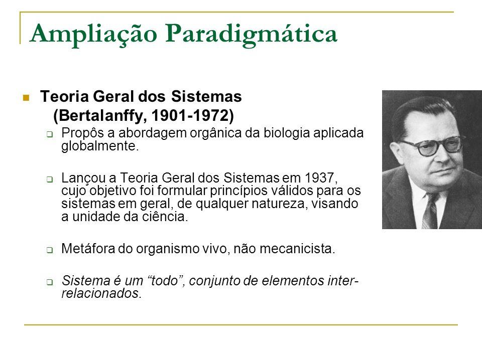 Ampliação Paradigmática Teoria Geral dos Sistemas (Bertalanffy, 1901-1972) Propôs a abordagem orgânica da biologia aplicada globalmente. Lançou a Teor