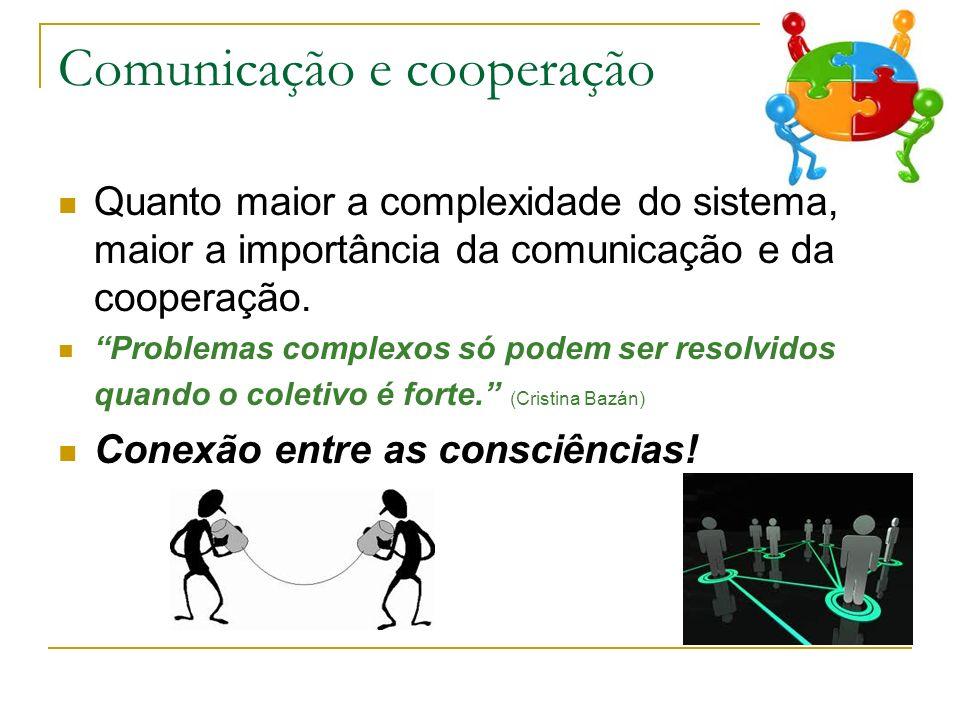 Comunicação e cooperação Quanto maior a complexidade do sistema, maior a importância da comunicação e da cooperação. Problemas complexos só podem ser