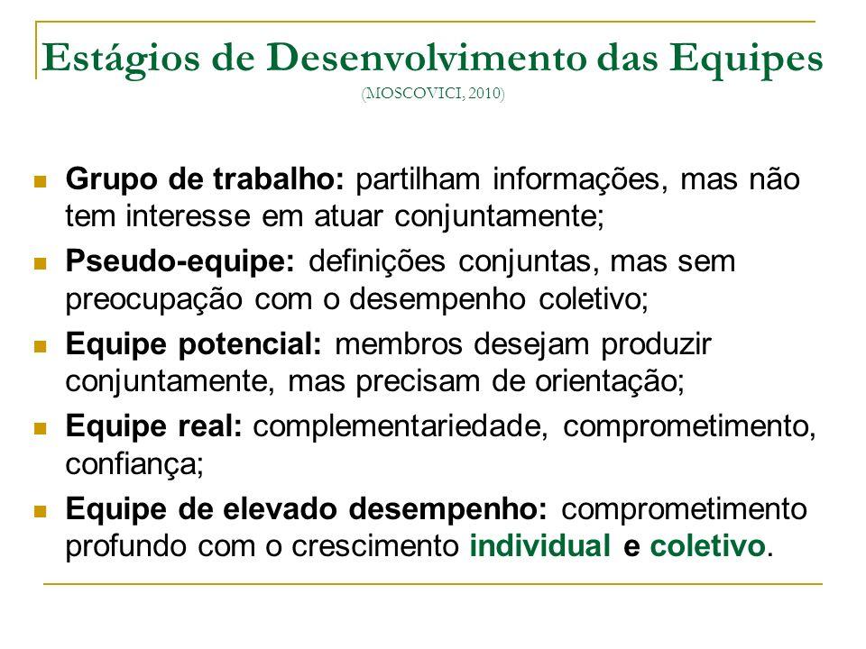 Estágios de Desenvolvimento das Equipes (MOSCOVICI, 2010) Grupo de trabalho: partilham informações, mas não tem interesse em atuar conjuntamente; Pseu