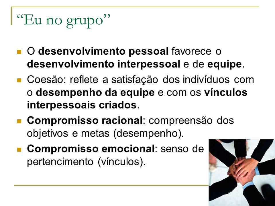 Eu no grupo O desenvolvimento pessoal favorece o desenvolvimento interpessoal e de equipe. Coesão: reflete a satisfação dos indivíduos com o desempenh