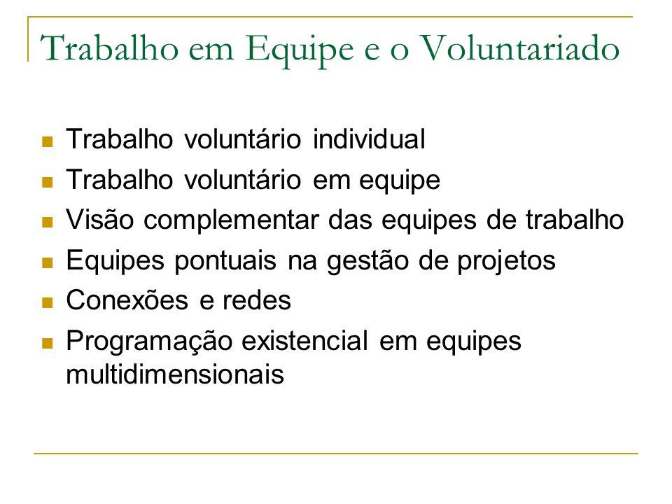 Trabalho em Equipe e o Voluntariado Trabalho voluntário individual Trabalho voluntário em equipe Visão complementar das equipes de trabalho Equipes po