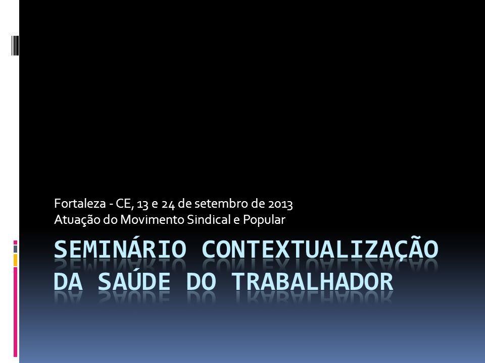 Fortaleza - CE, 13 e 24 de setembro de 2013 Atuação do Movimento Sindical e Popular