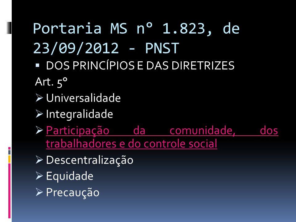 Portaria MS n° 1.823, de 23/09/2012 - PNST DOS PRINCÍPIOS E DAS DIRETRIZES Art. 5° Universalidade Integralidade Participação da comunidade, dos trabal