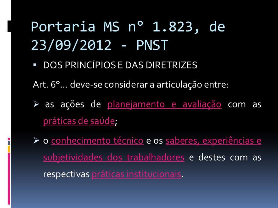 Portaria MS n° 1.823, de 23/09/2012 - PNST DOS PRINCÍPIOS E DAS DIRETRIZES Art. 6°... deve-se considerar a articulação entre: as ações de planejamento