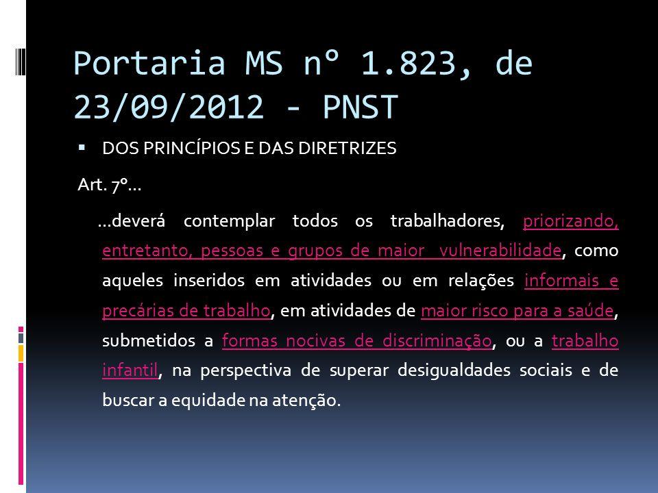 Portaria MS n° 1.823, de 23/09/2012 - PNST DOS PRINCÍPIOS E DAS DIRETRIZES Art. 7°......deverá contemplar todos os trabalhadores, priorizando, entreta