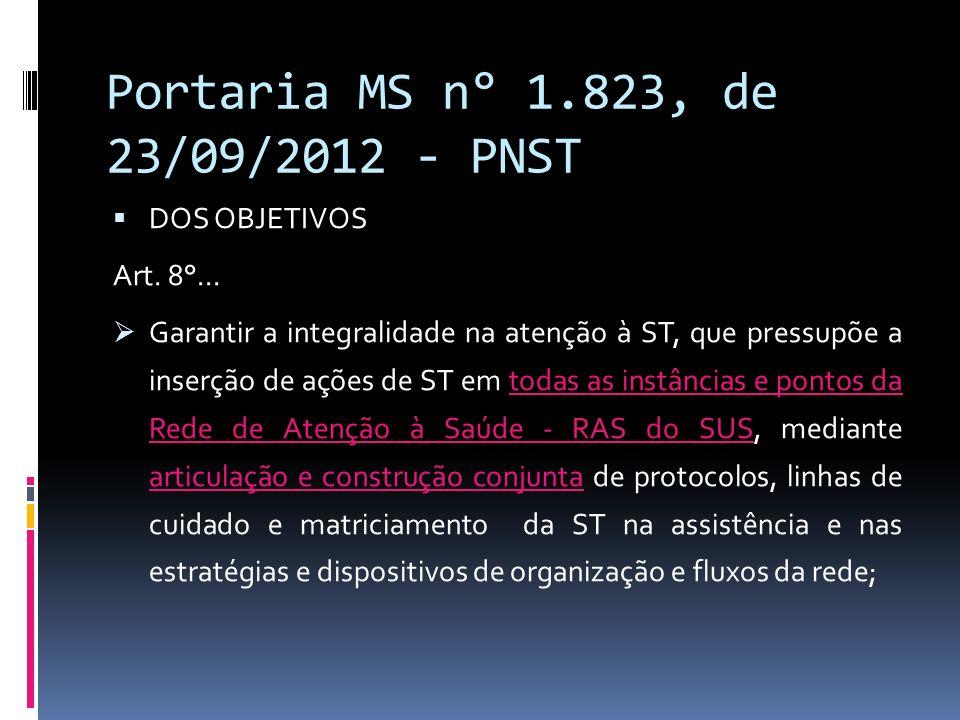 Portaria MS n° 1.823, de 23/09/2012 - PNST DOS OBJETIVOS Art. 8°... Garantir a integralidade na atenção à ST, que pressupõe a inserção de ações de ST