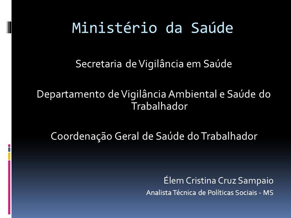 Ministério da Saúde Secretaria de Vigilância em Saúde Departamento de Vigilância Ambiental e Saúde do Trabalhador Coordenação Geral de Saúde do Trabal