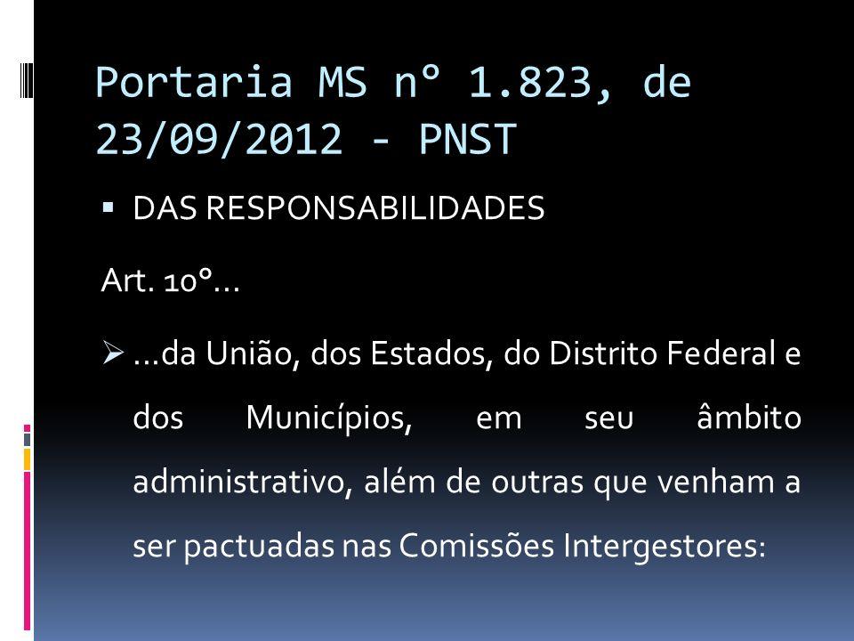 Portaria MS n° 1.823, de 23/09/2012 - PNST DAS RESPONSABILIDADES Art. 10°......da União, dos Estados, do Distrito Federal e dos Municípios, em seu âmb