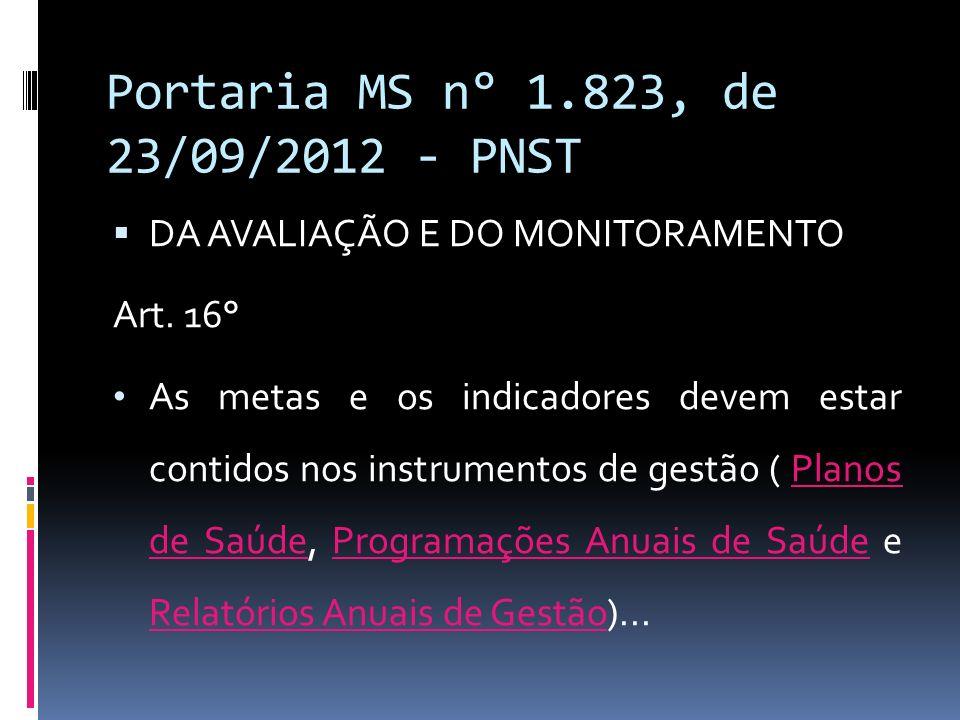 Portaria MS n° 1.823, de 23/09/2012 - PNST DA AVALIAÇÃO E DO MONITORAMENTO Art. 16° As metas e os indicadores devem estar contidos nos instrumentos de